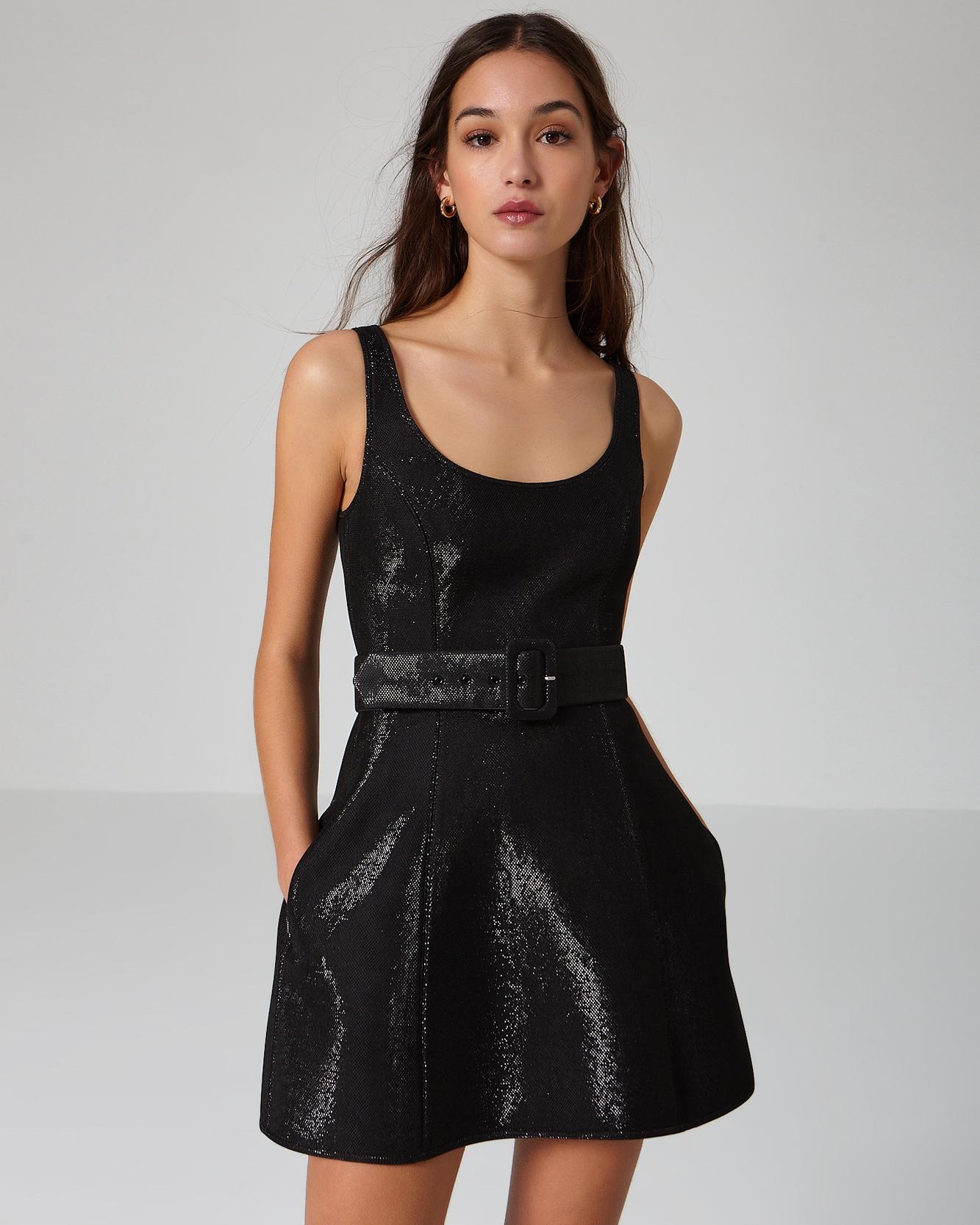 vestido corto negro brillo